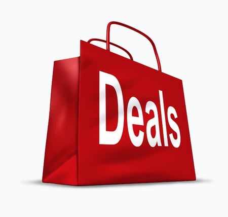 discounted: Deals and bargains shopping symbol represented by a red bag showing the concept of special prices for goods and services that are on sale or discounted at stores and malls. Stock Photo