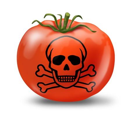 sustancias toxicas: La intoxicación por alimentos contaminados símbolo representado con un tomate y el cráneo y los huesos que muestra el concepto de producto que no es seguro para comer.