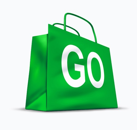 proceed: Go shopping symbol of the economic recovery and consumer confidence in the business of retail sales and services department of the economy represented by a green bag with the word go on it.