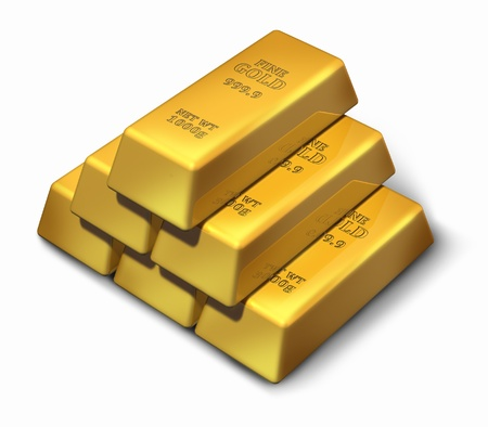 ounce: Gold bars in a pyramid formation representing wealth and savings.