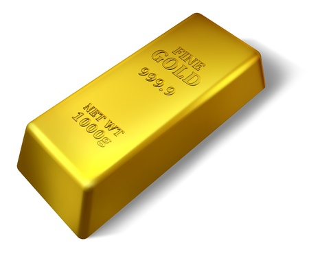 ounce: Single gold bar isolated on white representing wealth success and security.