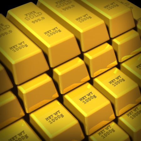 Gold Bullion in a group representing commodities trading for wealth and the banking system symbol.