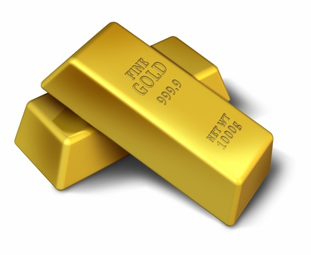 Gold bars isolated on white representing wealth success and security.