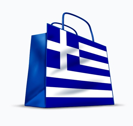 greek flag: Greek shopping symbol represented by a tourist bag with a flag of Greece.