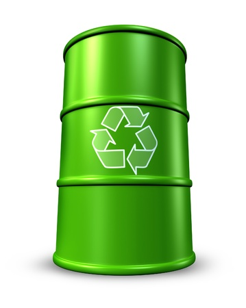 waste management: Green recycling barrel representing toxic waste management and environmental clean energy alternatives. Stock Photo