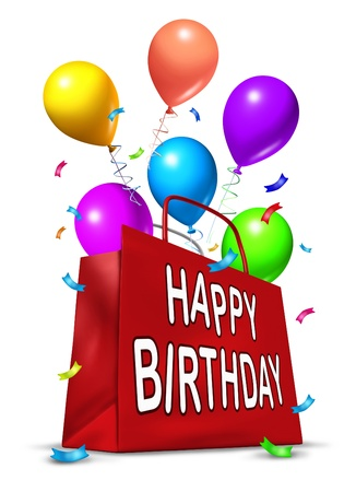 chearful: Happy birthday party bag with balloons of multi color representing a celebration. Stock Photo
