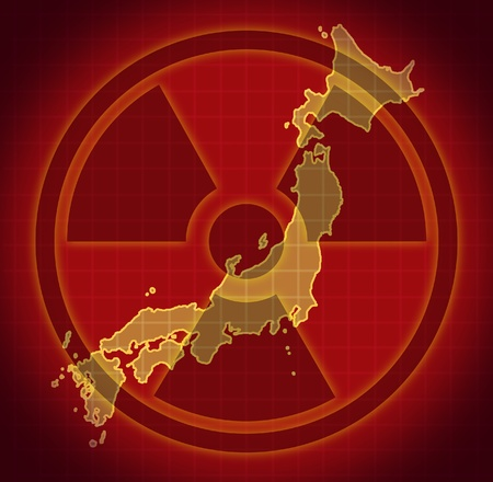 FLOODING: Japanese radioactive and radiation fallout symbol after a Japanese nuclear meltdown disaster.