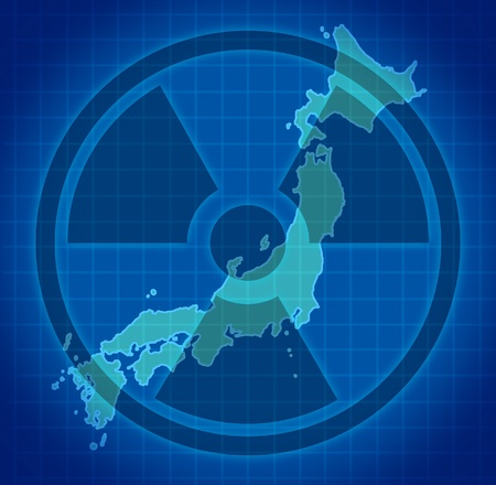 devastating: Japanese radioactive and radiation fallout symbol after a Japanese nuclear meltdown disaster.
