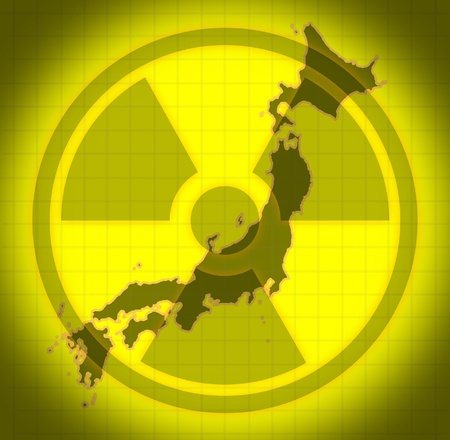 meltdown: Japanese radioactive and radiation fallout symbol after a Japanese nuclear meltdown disaster.