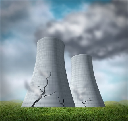 nuclear energy: Nuclear reactor meltdown disaster symbol represented by damaged cracked cooling towers that are leaking cancer causing fallout of radioactive steam.