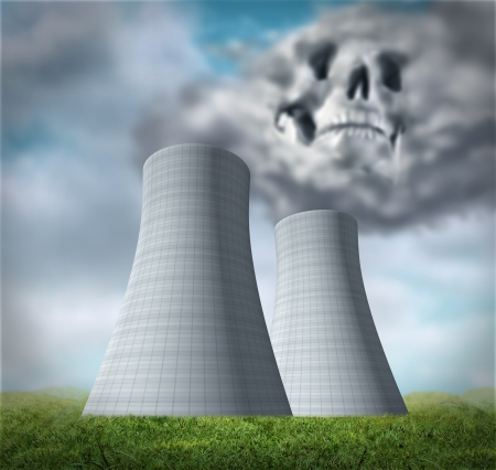 nuclear plant: Nuclear power station disaster symbol representing a meltdown and radiation leaking from damaged overheated cooling tower reactor. Stock Photo