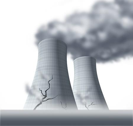 nuke plant: Fusi�n nuclear del reactor s�mbolo representado por los desastres da�adas agrietadas torres de refrigeraci�n con fugas que causan c�ncer consecuencias de vapor radiactivo.
