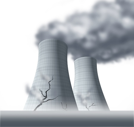 causing: Nuclear reactor meltdown disaster symbol represented by damaged cracked cooling towers that are leaking cancer causing fallout of radioactive steam.