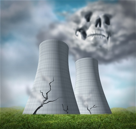 Nuclear reactor meltdown disaster symbol represented by damaged cracked cooling towers that are leaking cancer causing fallout of radioactive steam.