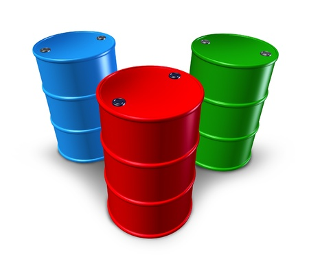 Metal barrels and drums with multiple colors representing toxic materials and synthetic chemical storage.
