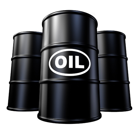 commodities: Oil barrels and drum containers representing the gasoline energy and fossil fuel industry.