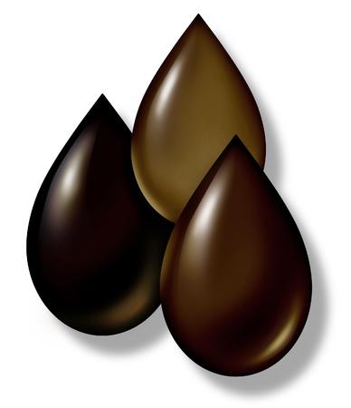 Olie daalt vertegenwoordigd door aardgas aardolie en ruwe symbolen voor de energie-en energie-industrie. Stockfoto