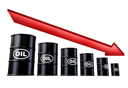 Oil and gas prices down symbol represented by descending barrels of fossil fuel and red arrow pointing downward. Stock Photo - 10945918