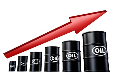 Oil and energy prices up symbol represented by ascending barrels of fossil fuel and red arrow pointing downward. Stock Photo - 10945919