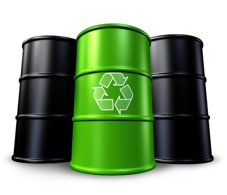 petrol can: Green recycling barrel with oil drums in the background representing toxic waste management and environmental clean energy alternatives.