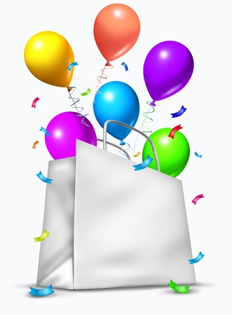 White blank party shopping bag with balloons exploding out in celebration of a birthday or an important occasion.