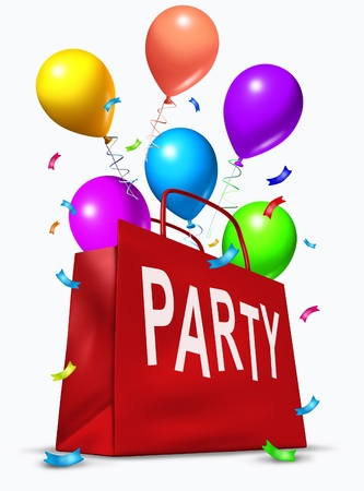 Party bag with balloons exploding out in celebration of a birthday or an important occasion.arty, New Years Eve, Celebration, Confetti, Streamer, New Years Day.