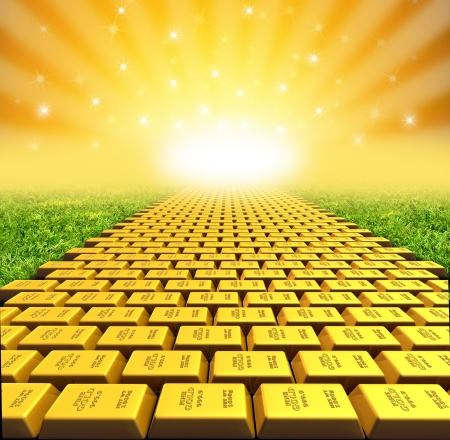 ellow brick road symbol represented by gold bricks with a vanishing perspective. Stock Photo