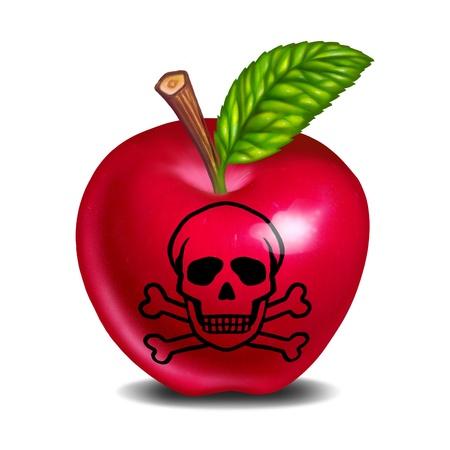 calavera: Intoxicación alimentaria símbolo representado con una manzana y cráneo y huesos mostrando el concepto de productos y frutas que no es seguro para comer.