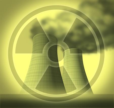 nuke plant: Radiactivos y s�mbolo de radiaci�n representado por las torres de refrigeraci�n nuclear que muestran secuelas de un desastre despu�s de un colapso del sistema.