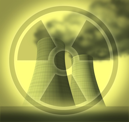 Radioactive and radiation symbol represented by nuclear cooling towers showing a fallout disaster after a system meltdown. photo