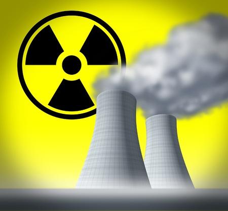 nuke plant: Radiactivos y el s�mbolo de radiaci�n representado por las torres de refrigeraci�n nuclear que muestra secuelas de un desastre despu�s de un colapso del sistema.