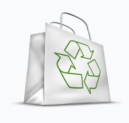 materialism: White bag with the recycle symbol representing green environmental issues. Stock Photo