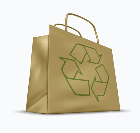 environmental issues: Brown bag with the recycle symbol representing green environmental issues.