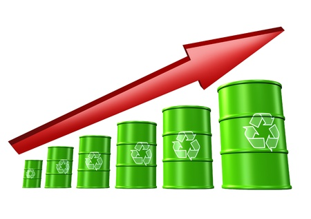 Rising recycling rates and environmental profits symbol represented by green barrels and drums. photo