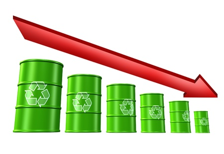 Decline in recycling rates and environmental loses symbol represented by green barrels and drums. photo