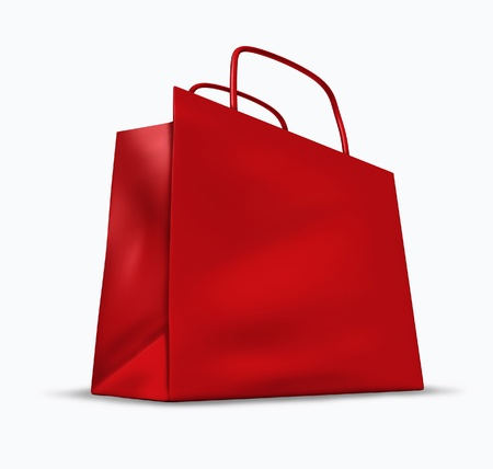 Red shopping bag with blank packaging representing the concept of retail consumers and shoppers looking for bargains and low prices at the mall department stores. Stock Photo - 10945889