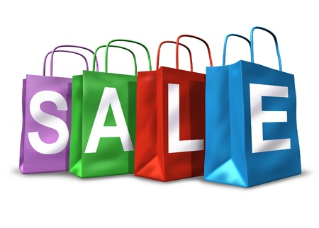 big sale: Shopping bags with the word sale on them representing the concept of retail consumers and shoppers looking for bargains and low prices.
