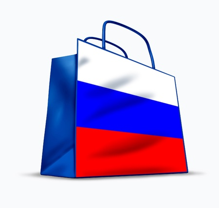 materialism: Russian shopping symbol represented by a bag with the flag of Russia. Stock Photo