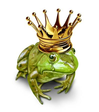 Sad frog prince with gold crown and a crying tear representing the heart broken and love sick fairy tale concept of searching for change and transformation from an amphibian to royalty. photo