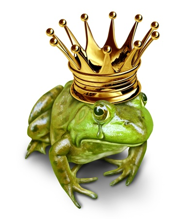 Sad frog prince with gold crown crying with a tear in his eye representing the concept of search for love resulting in the transformation from amphibian to prince. Imagens