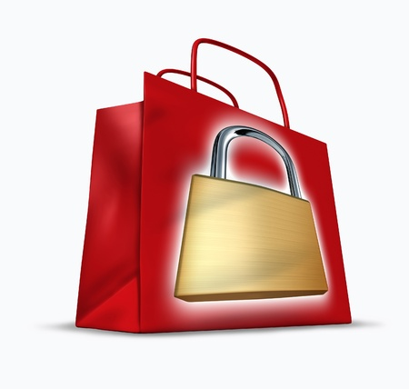 Secure shopping representing the concept of a red shopper bag with a symbol of a lock to show the security in internet e-commerce and traditional sales protecting the consumer from fraud. Stock Photo - 10945926