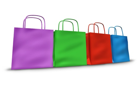 Shopping bags in a group with multi colors representing sales and retail purchases at stores and shops. Stock Photo - 10945894