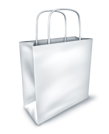 Blank shopping bag symbol isolated on white representing the concept of retail consumers and shoppers looking for bargains and low prices at the mall department stores. Stock Photo - 10945884