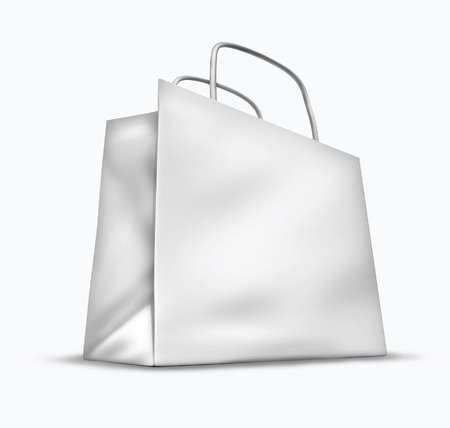 Blank shopping bag symbol isolated on white representing the concept of retail consumers and shoppers looking for bargains and low prices at the mall department stores. Stock Photo - 10945882