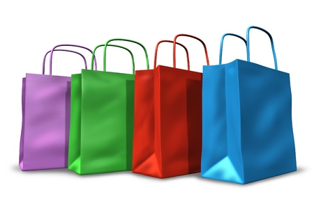 Shopping bags in a group with multi colors representing sales and retail purchases at stores and shops. Stock Photo - 10945913