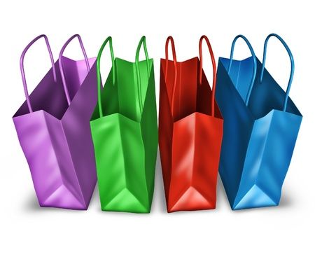 materialism: Shopping bags in a group with multi colors representing sales and retail purchases at stores and shops. Stock Photo