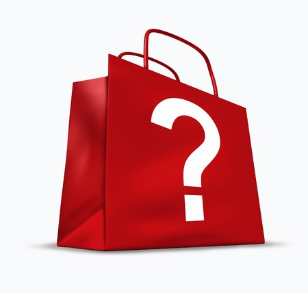financial questions: Shopping questions and answers symbol represented by a costumer red bag with a question mark.