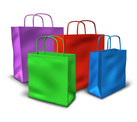 flee: Shopping bags in a group with multi colors representing sales and retail purchases at stores and shops. Stock Photo