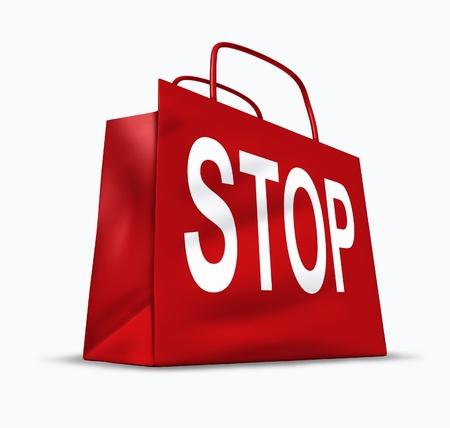 Stop symbole achats des problèmes économiques de trop dépenser et de tomber dans la dette et la faillite causée par des taux d'intérêt et un ralentissement de l'économie représentée par un sac rouge. Banque d'images