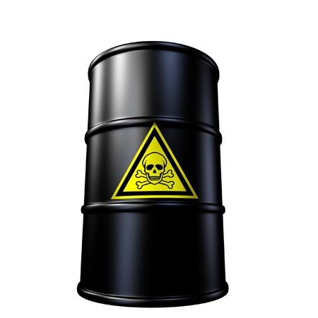 desechos toxicos: Símbolo tóxicos barril de residuos representado por un aceite de metal negro y el tambor de químicos. Foto de archivo